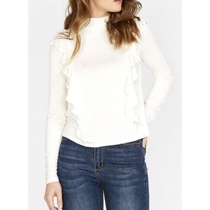 Buffalo 'Ruffle Front' Mock Neck Long Sleeve Top